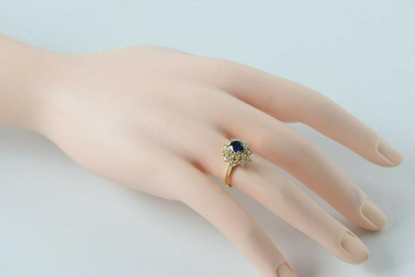 14K Yellow Gold Sapphire & Diamond Halo ring - 2 ct tw, Circa 1960, Size 5.5