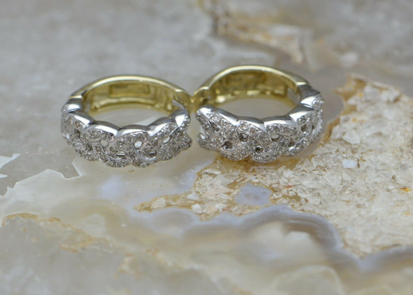 14K White Gold Diamond Hoops Hinged Yellow Gold Backs, Intertwined Diamond Ropes