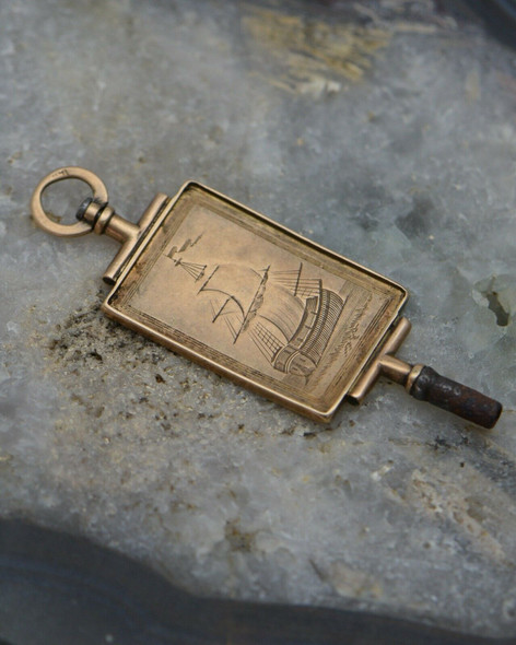 10K Yellow Gold 19th Century watch Key, Engraved with Nautical Designs