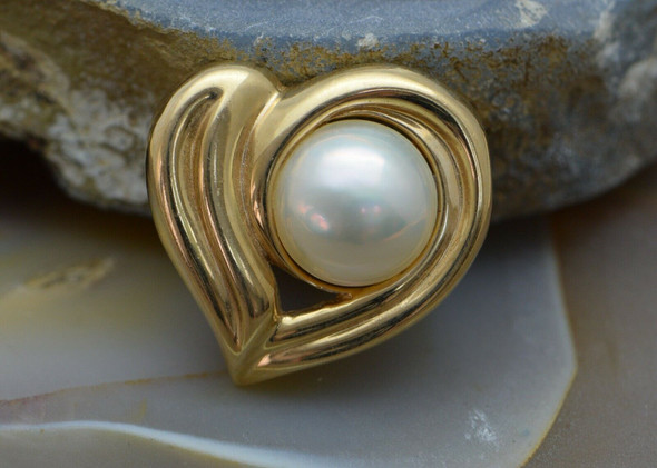 14K Yellow Gold Mabe Pearl Heart Pendant or Small Pearl Enhancer, 12mm Pearl
