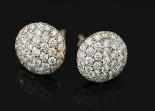 14K White Gold Diamond Pave Studs, 3+ ct tw, Super Quality! Circa 1980