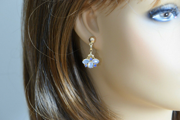 14K Yellow Gold Moonstone and Sapphire Earrings, Circa 1980