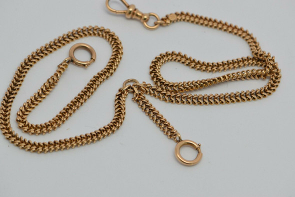 14K Yellow Gold Late Victorian Pocket Watch Chain