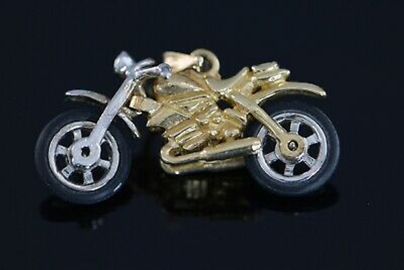 14K White & Yellow Gold Motorcycle Pendant, Moveable Parts, Steering and Wheels