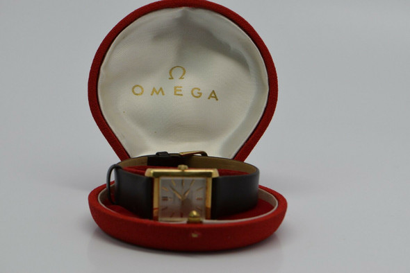 14K Yellow Gold Omega Automatic Tank Watch, Circa 1960