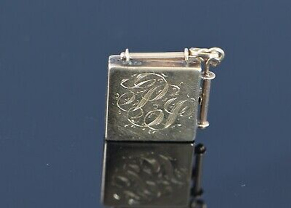 14K Yellow Gold Square Locket, Hangs on the Point via a Bail, Circa 1880