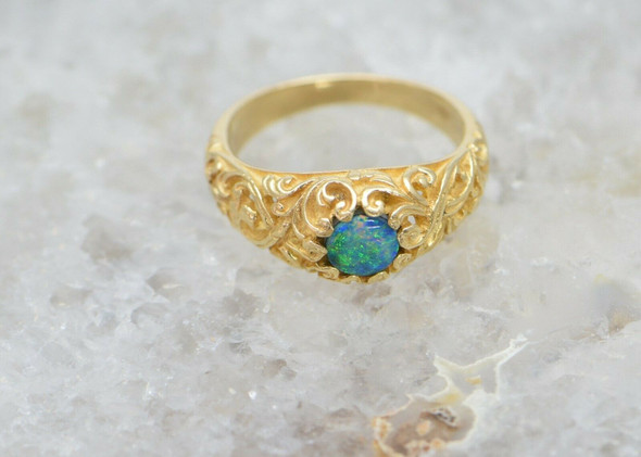 14K Yellow Gold Doublet Opal Cabochon Ring, Pierced Decoration, Size 7.25