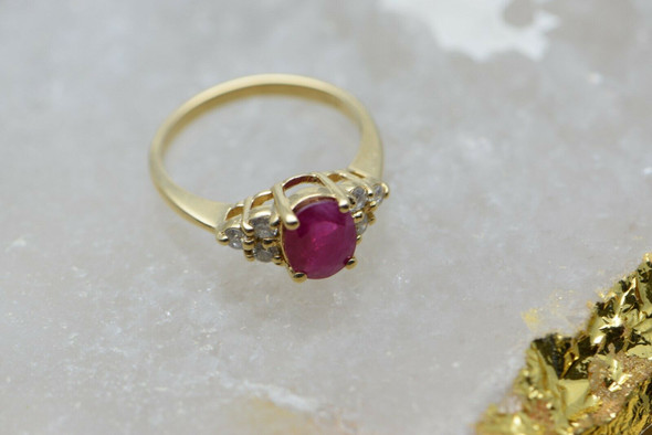 14K Yellow Gold Ruby & Diamond Ring Circa 1980, Size 6.75