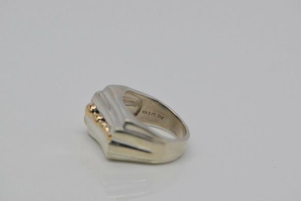 14K White & Yellow Gold Asymmetrical Top Ring, Size 6.5