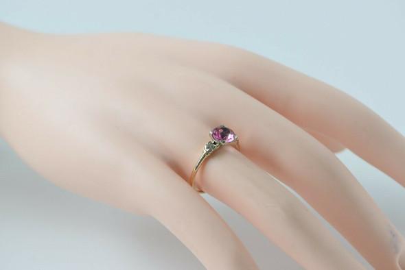 14K White & Yellow Gold Pink Tourmaline Diamond Ring, Size 8,