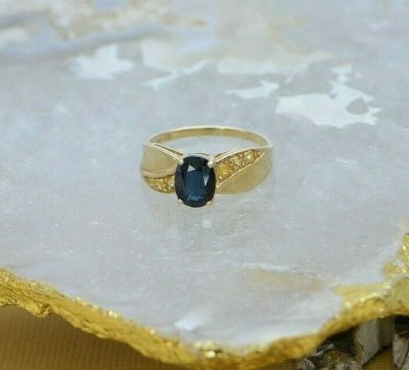 14K Yellow Gold Sapphire Ring, Yellow Sapphire side stones