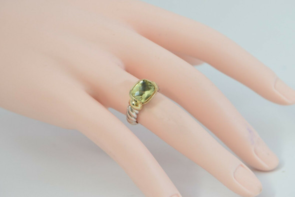 14K Yellow Gold 925 David Yurman Ring Peridot, Ring size 4.75