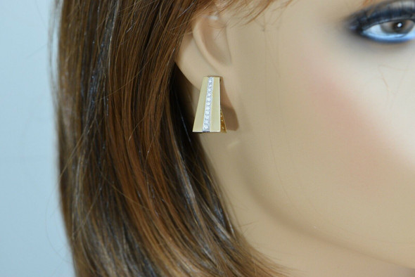 14K Yellow Gold Diamond Modernist J Form Ear Studs, GVS, 1/2 ct tw, 22 Diamonds