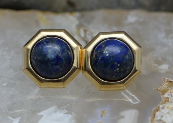 14K Yellow Gold Earrings with Lapis Lazuli Stones
