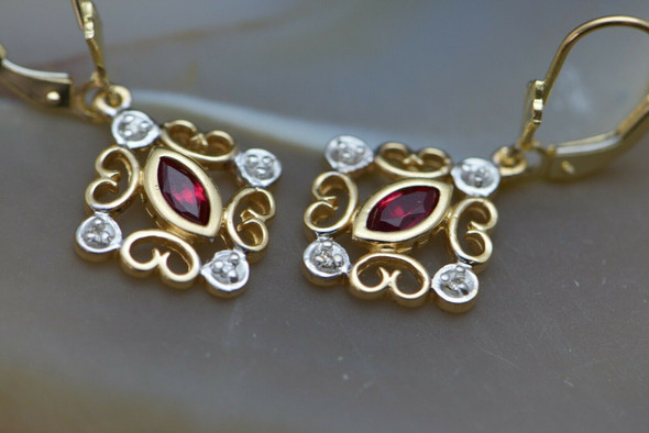 14K Yellow Gold Synthetic Ruby and Diamond French Clips, 8 Diamonds Total
