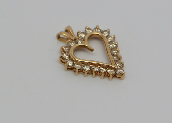 10K Yellow Gold Diamond Halo Heart Pendant, Open Heart Stones, Circa 1960