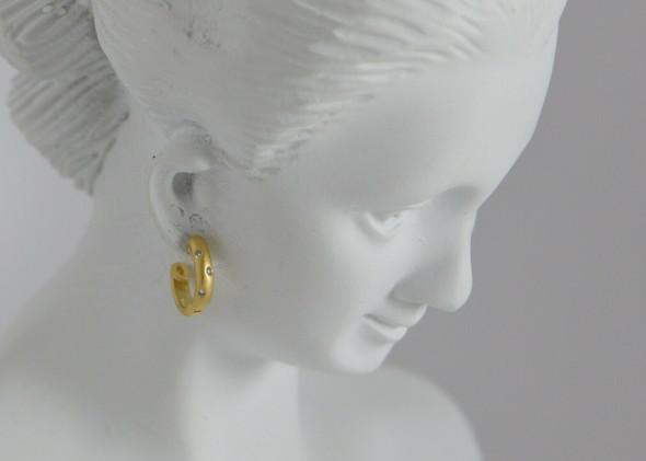 18K Yellow Gold Diamond Studded Small Hoops, 6 Diamonds total, Circa 1990