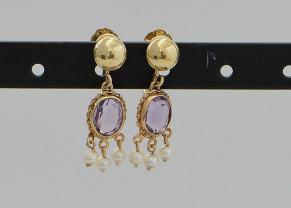 14K Yellow Gold Amethyst Pearl Drop Screw Back Earrings, 2,8 grams
