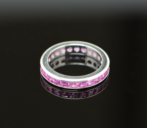 18K White Gold Superb Pink Sapphire Eternity Band, Size 6