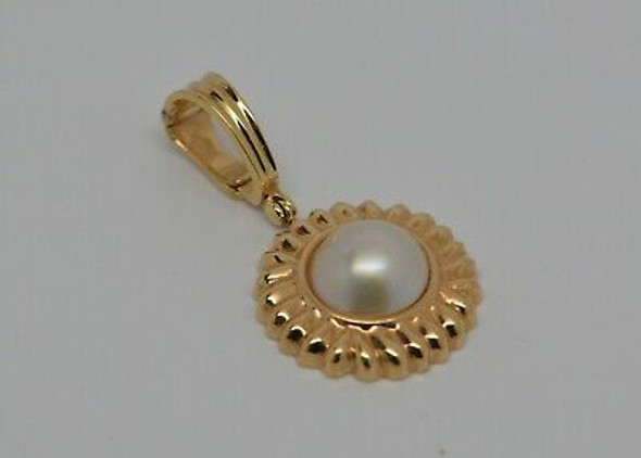 14K Yellow Gold Mabe Pearl Enhancer, Gold Sunburst Surround, Circa 1980