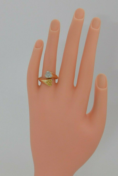 14K Yellow Gold Diamond and Yellow Sapphire Heart Bypass Ring, 1980's, Size 7.75