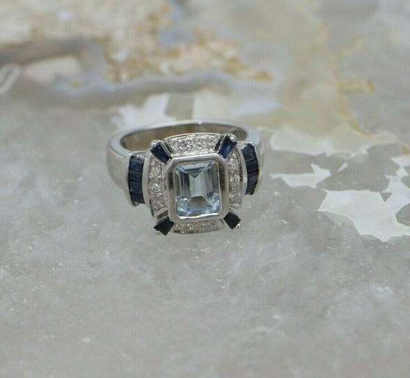 14K White Gold Aquamarine Sapphire and Diamond Ring, Circa 1990, Size 7