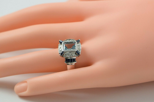 14K White Gold Aquamarine Sapphire and Diamond Ring, Circa 1990, Size 7