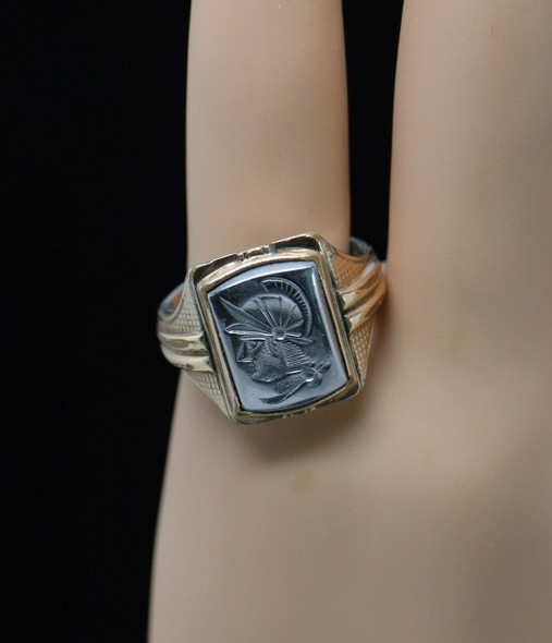 10K & Sterling Men's Hematite Intaglio Roman Soldier Head Ring, Size 10