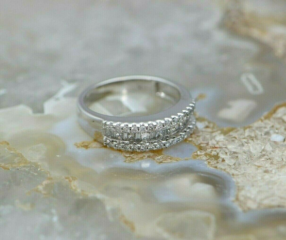 14K WG Unusual Diamond Band 9 Princess Stones Separated by Baguettes Size 7