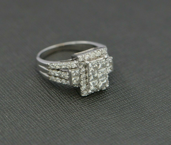 14K WG 3 ct tw est Diamond Rectangular Pave Ring Size 8