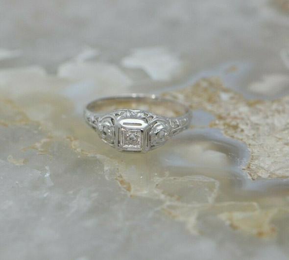 14K WG Petite Filigree Diamond Ring Pierced Decorations Circa 1930 Size 5
