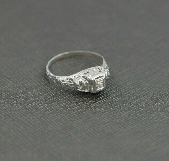 14K WG Petite Filigree Diamond Ring Pierced Decorations Circa 1930 Size 5