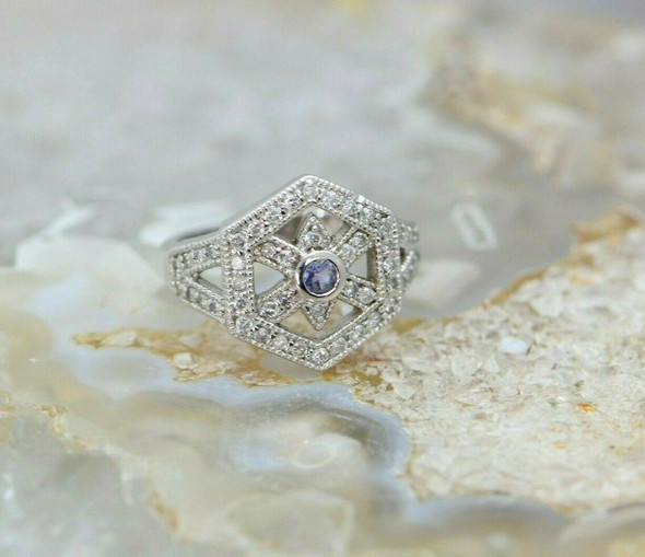 14K WG Tanzanite and Diamond Ring Circa 1990 Size 6.25