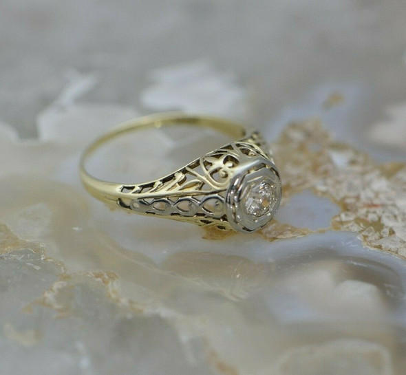 14K YG 20 pt. Diamond Gold Filigree Ring Art Deco Style Circa 1930 Size 5