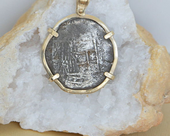 Authentic 14K YG Mounted Treasure Coin Pendant with Real Coin Atocha Salvage