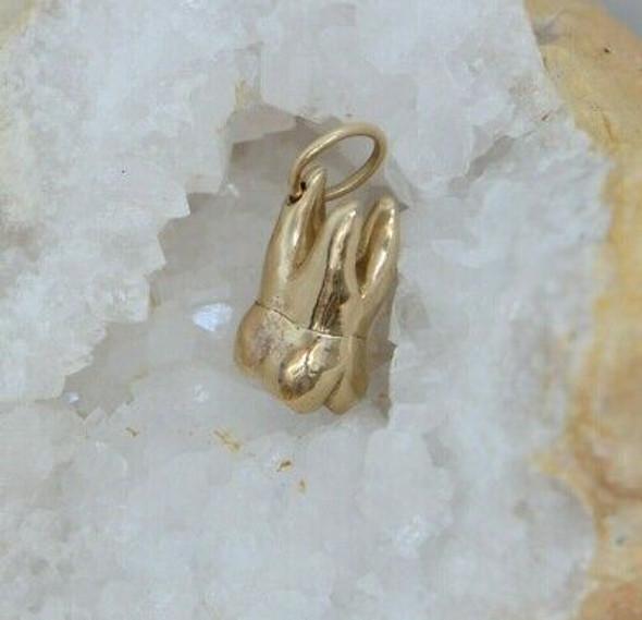 Vintage 14K Yellow Gold Tooth Charm, Nice watch Fold, Circa 1950