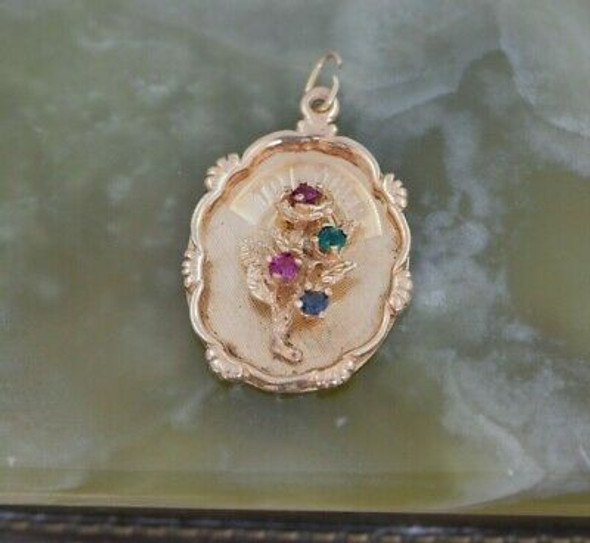 14K YG Mother Charm 4 Stones Pink Green Blue in a Floral Spray Circa 1950