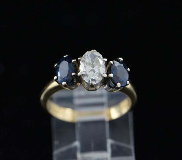 14K Yellow Gold Sapphire and Diamond 3 Stone Ring Circa 1950, Size 7