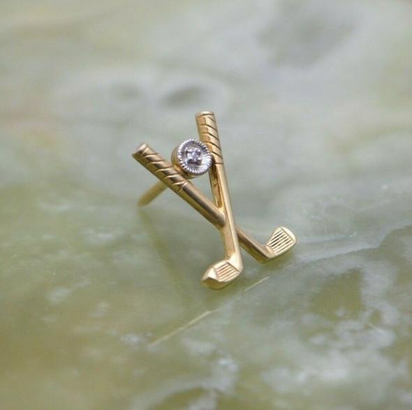 Vintage 14K YG Tie Tack Crossed Irons Small Diamond Set ANSON Circa 1960