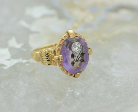 18K YG Amethyst Diamond and Victorian Inlaid Stone Ring Circa 1880 Size 7
