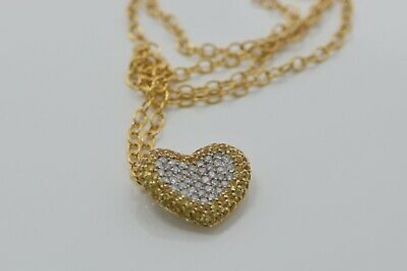 "18K YG Diamond & Yellow Sapphire Heart Necklace on 14K 18"" Chain, Circa 1990"