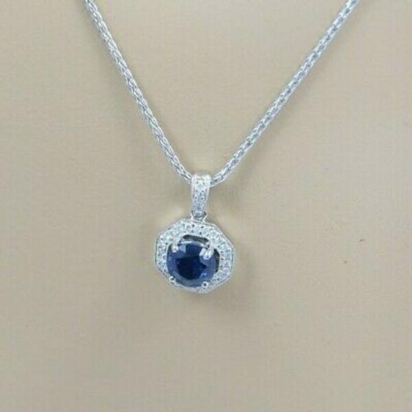 "14K WG Blue Sapphire & Diamond Necklace Maker: REKO with 17"" Chain, Circa 1990"