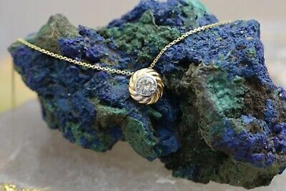 "14K YG Round Diamond Necklace on 16"" Chain Circa 1980"