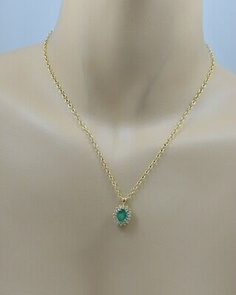 """14K YG Emerald Diamond Halo Necklace with 17.5"""" Oval Link Chain"""