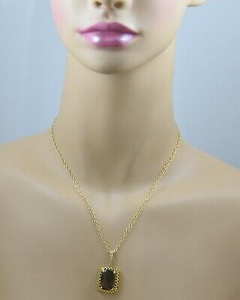 "14K YG Smokey Cushion Shaped Quartz Necklace on 17"" Chain Circa 1960"