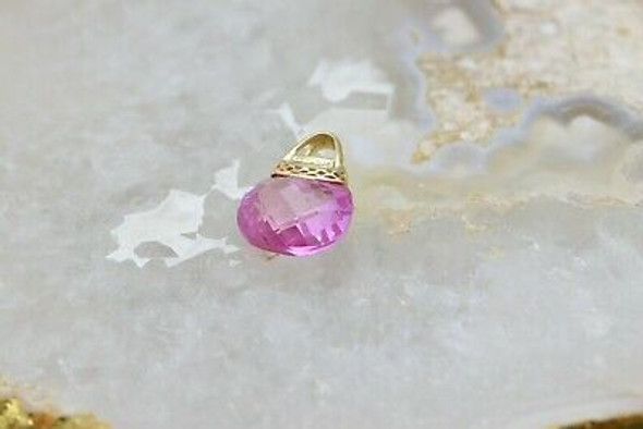 "14K YG Pink Stone Handbag Necklace with 5 Diamonds on 20"" chain Circa 2000"
