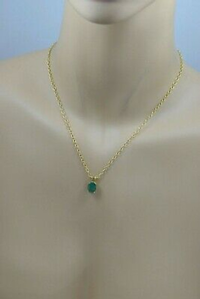 """14K YG Oval Faceted Emerald Prong Set Necklace with 17"""" Chain, Circa 1970"""