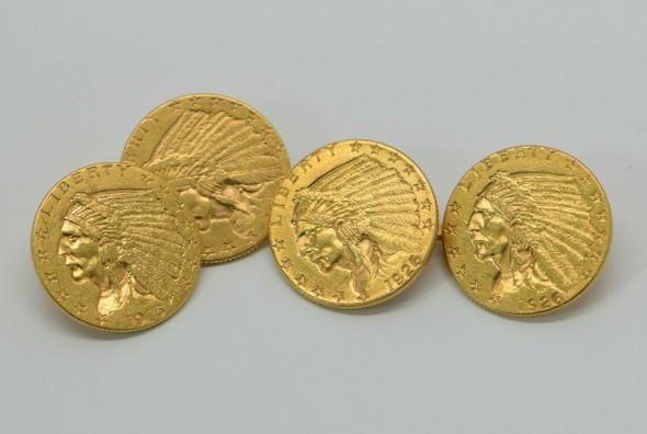 Gold $2 1/2 Dollar Indian Cufflinks 4 Gold coins: 2 -1926, 1- 1909 & 1-1915