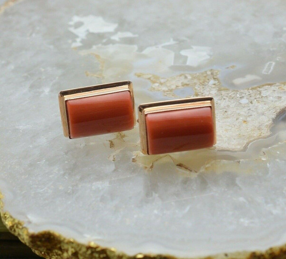 18K YG Coral Cabochon Cufflinks, Coral is set in a Gold Band, Circa 1960's