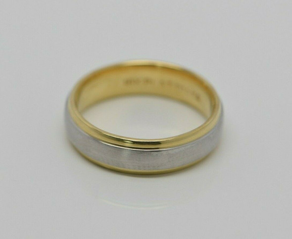 18K Yellow Gold & Platinum Band with Smooth Edges, Size 9.5